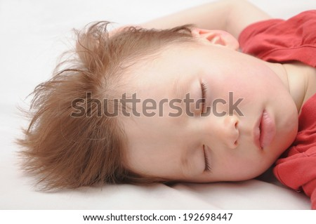 Caucasian white European kid sleeping 3 years old portrait - stock photo