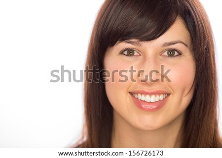 Caucasian woman smile face close up portrait - stock photo