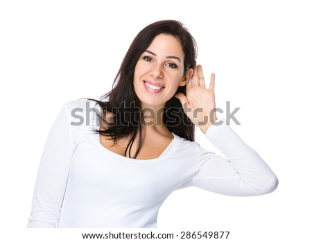 Caucasian woman whisper other talking - stock photo