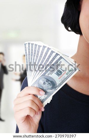 Caucasian woman with us dollar money. - stock photo