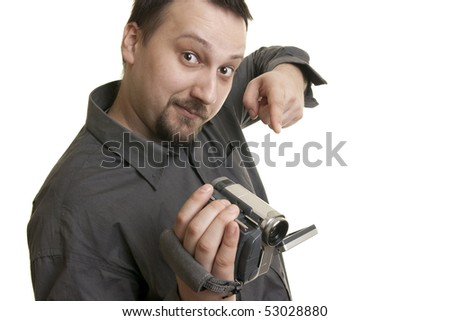 caucasian young man holding camcorder - stock photo