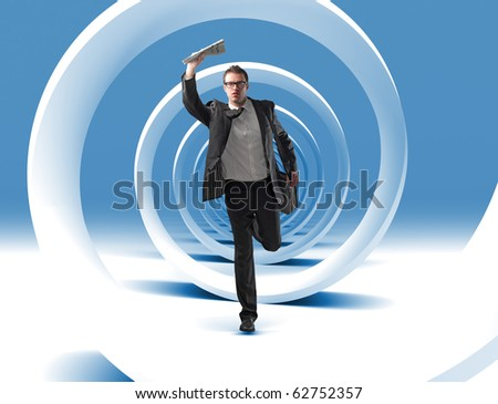 caucasian young man run in 3d spiral - stock photo
