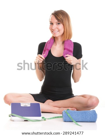 Caucasian young woman weight scale isolated over white background - stock photo