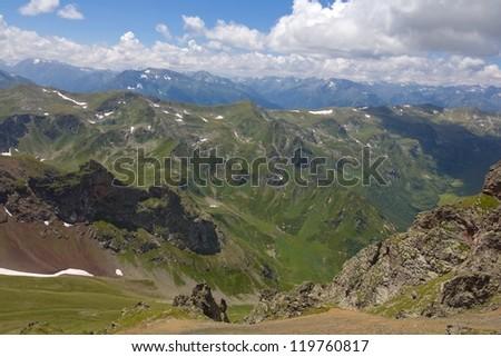 caucasus mountain scene - stock photo
