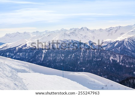 Caucasus mountains during daytime in winter, Sochi - stock photo