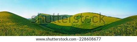 Caucasus Mountains in Kabardinka, Russia. Panoramic view - stock photo