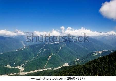 Caucasus Mountains in Krasnaya Polyana. - stock photo