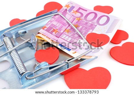 Caught in a trap for the money - stock photo