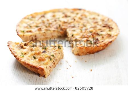 cauliflower and caramelized onion tart - stock photo