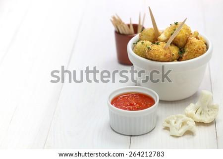 cauliflower bites, vegetarian food - stock photo