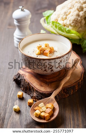 Cauliflower cream soup  with croutons - stock photo