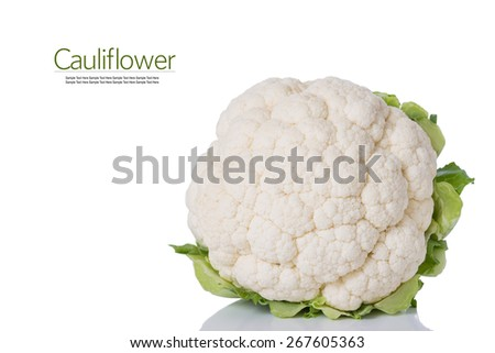 Cauliflower Isolated on a White Background. Copy Space. - stock photo