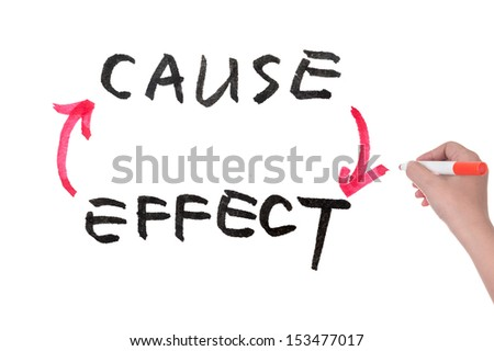 Cause and effect concept diagram on white board - stock photo