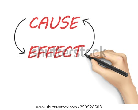 cause and effect written by 3d hand over white background - stock photo