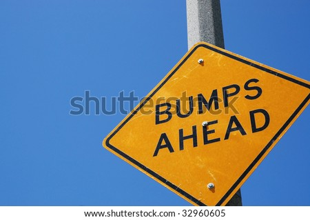 Caution bumps ahead sign, room for copy space - stock photo
