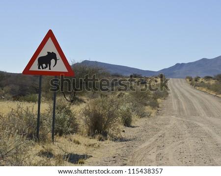 Caution: Elephants - stock photo