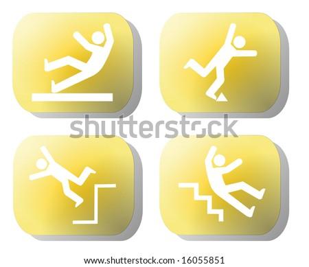 Caution falling hazards on yellow buttons illustration - stock photo