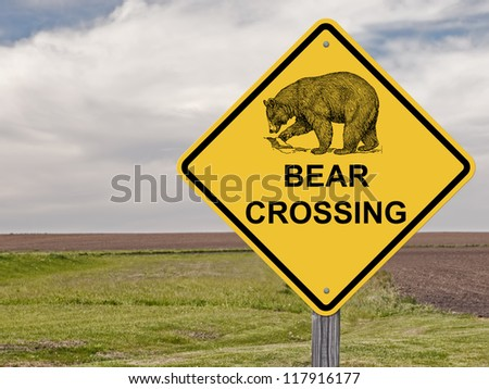 Caution Sign - Bear Crossing - stock photo