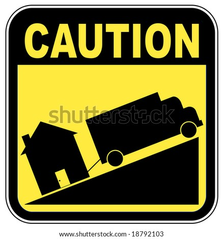caution sign with truck towing house - crashing house market concept - stock photo
