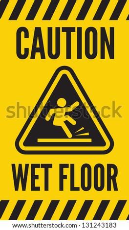 Caution wet floor - stock photo