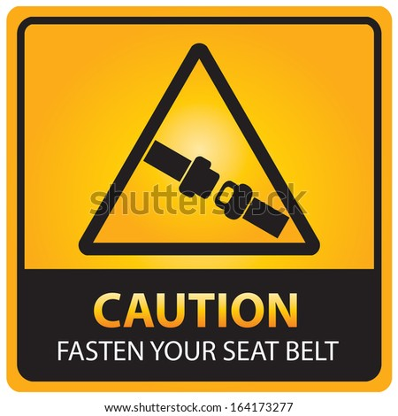 Caution with fasten your seat belt text and sign isolated.JPG - stock photo
