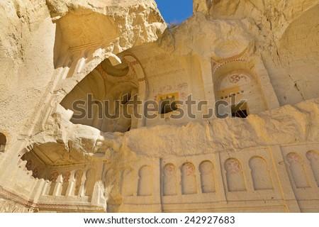 Cave church in Cappadocia near Goreme, Turkey.  - stock photo