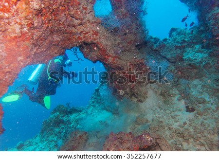 Cave diving, Maldives - stock photo
