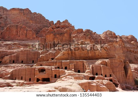 Cave dwellings in the ancient city of Petra, Jordan - stock photo