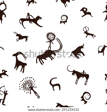 Cave painting seamless pattern - stock photo
