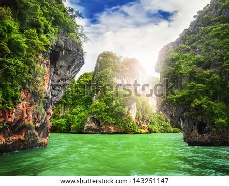 cave rocks on railay beach in Krabi, Thailand - stock photo
