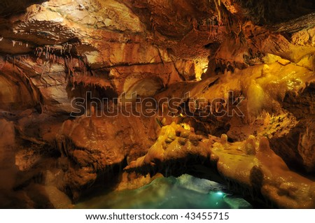 Cave stalactites and formations - Portugal. - stock photo