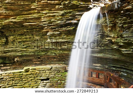 Cave waterfall at Watkins Glen state park, New York, USA - stock photo