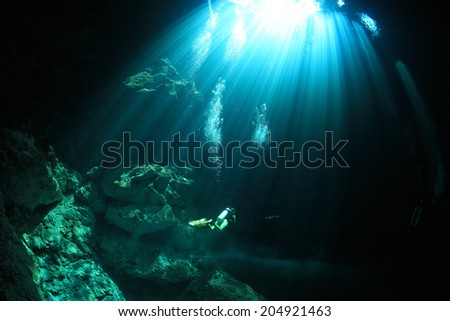 Cavediving in the cenote underwater cave at the yucatan peninsula of mexico - stock photo