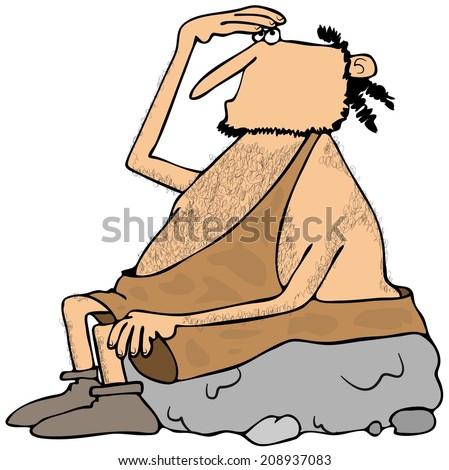 Caveman looking up - stock photo