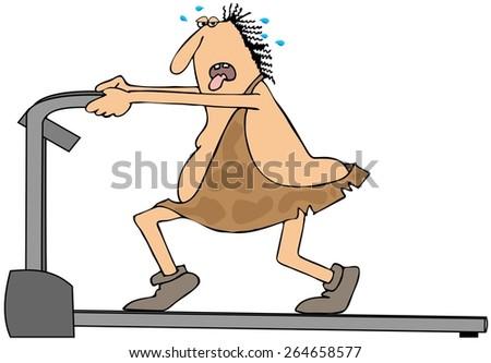Caveman on a treadmill - stock photo
