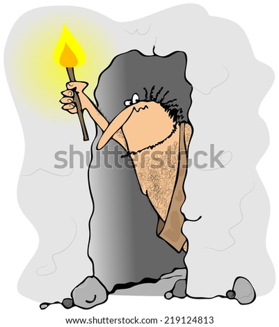 Caveman peering out of a cave - stock photo