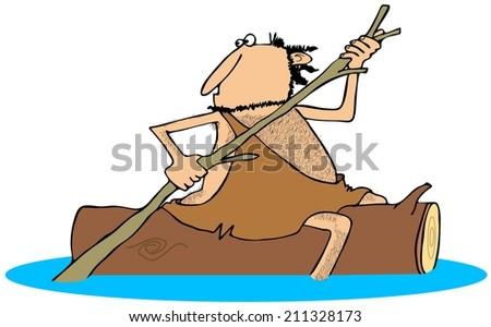 Caveman straddling a log - stock photo