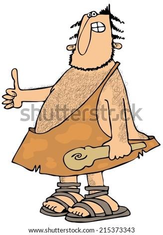 Caveman Thumbs-up - stock photo