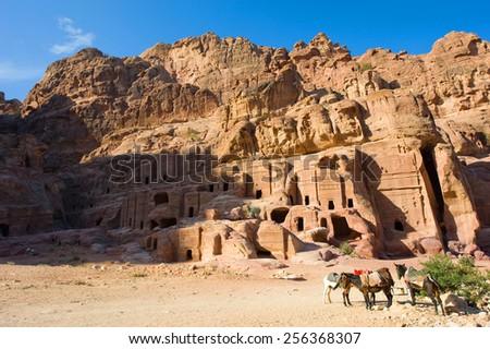 Caves in the rocks in Petra in Jordan - stock photo