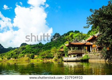 Caves popular tourist in TrangAn. Trang An is a terrestrial Ha Long Bay in NinhBinh, Vietnam. - stock photo