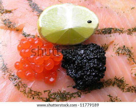 Caviar&salmon - stock photo