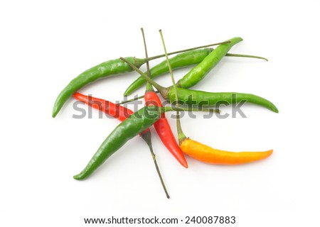 Cayenne pepper, chili spur pepper, long fed pepper, spur pepper //isolated on white - stock photo