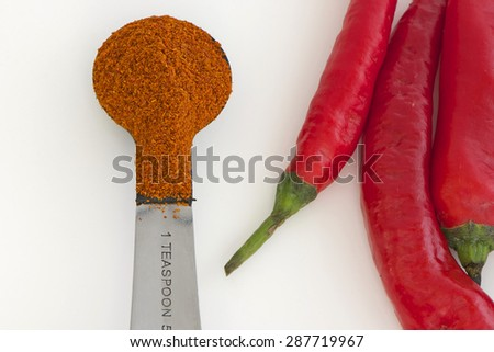 Cayenne Pepper with cayenne chilli powder on the teaspoon - stock photo