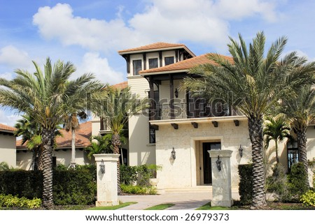 Cayman Island executive home in high end country club - stock photo