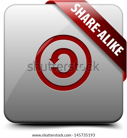 CC SA Share-alike button - stock photo