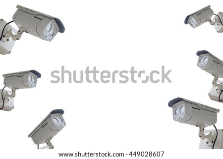 cctv camera isolated on white background with copyspace - stock photo