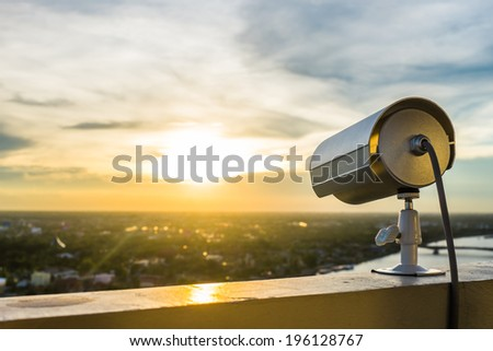 CCTV Camera or surveillance with sunlight - stock photo