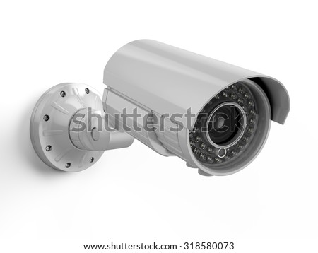 CCTV camera. Security camera isolated on white - stock photo