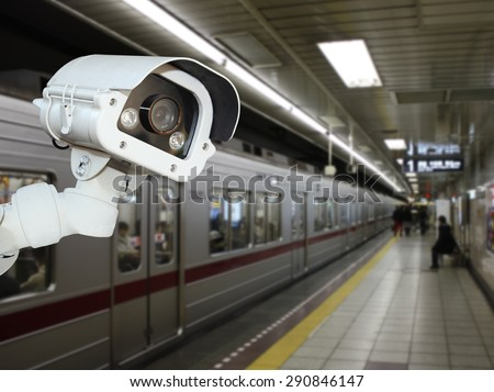 CCTV Camera security operating on subway station platform.underground railways station.