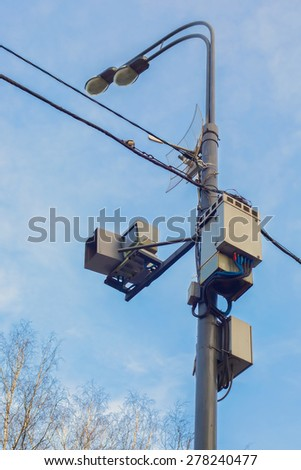 CCTV camera the road traffic monitoring - stock photo